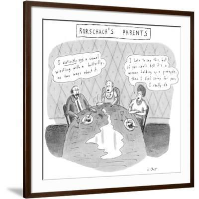 Rorschach's Parents Dad: 'I distinctly see a camel wrestling with a butter… - New Yorker Cartoon-Roz Chast-Framed Premium Giclee Print