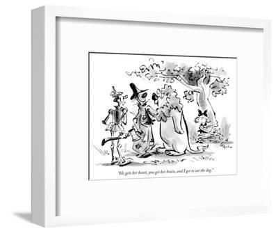 """He gets her heart, you get her brain, and I get to eat the dog."" - New Yorker Cartoon-Lee Lorenz-Framed Premium Giclee Print"