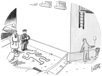 Police at a crime scene with a chalk figure outlined, as another chalk fig… - New Yorker Cartoon-Glen Le Lievre-Framed Premium Giclee Print