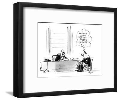 Man sitting in a bank at a loan officer's desk. - New Yorker Cartoon-Lee Lorenz-Framed Premium Giclee Print