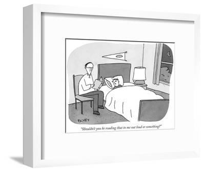 """""""Shouldn't you be reading that to me out loud or something?"""" - New Yorker Cartoon-Peter C. Vey-Framed Premium Giclee Print"""