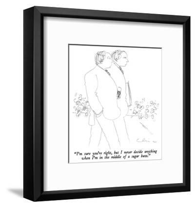 """""""I'm sure you're right, but I never decide anything when I'm in the middle…"""" - New Yorker Cartoon-Richard Cline-Framed Premium Giclee Print"""