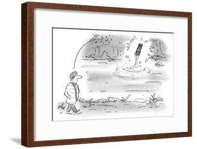 A man out for a walk, sees an arm rising from a lake holding a television … - New Yorker Cartoon-Arnie Levin-Framed Premium Giclee Print