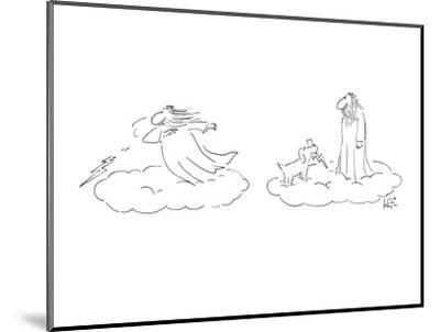 Greek God throwing Lightning bolts, his dog brings them back. - New Yorker Cartoon-Arnie Levin-Mounted Premium Giclee Print