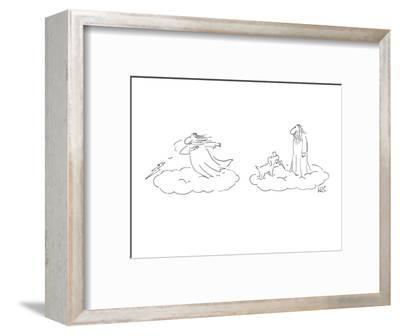 Greek God throwing Lightning bolts, his dog brings them back. - New Yorker Cartoon-Arnie Levin-Framed Premium Giclee Print
