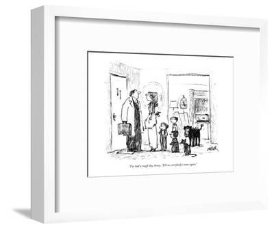 """I've had a rough day, honey.  Tell me everybody's name again."" - New Yorker Cartoon-Robert Weber-Framed Premium Giclee Print"