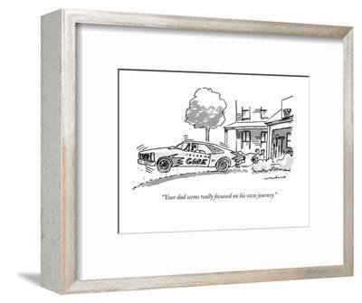 """Your dad seems really focussed on his own journey."" - New Yorker Cartoon-Michael Crawford-Framed Premium Giclee Print"