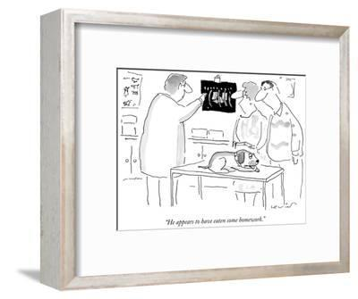 """""""He appears to have eaten some homework."""" - New Yorker Cartoon-Arnie Levin-Framed Premium Giclee Print"""