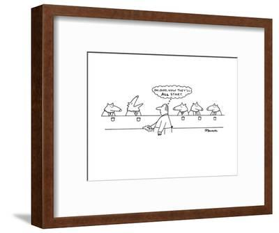 """Wolves in bar; one has started howling and the human bartender thinks, """"Oh?"""" - New Yorker Cartoon-Charles Barsotti-Framed Premium Giclee Print"""