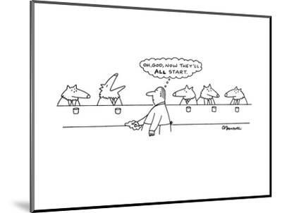 """Wolves in bar; one has started howling and the human bartender thinks, """"Oh?"""" - New Yorker Cartoon-Charles Barsotti-Mounted Premium Giclee Print"""