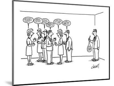 A man at a cocktail party with his 'speech balloon' limp in his hand.  The? - New Yorker Cartoon-Tom Cheney-Mounted Premium Giclee Print