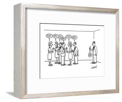 A man at a cocktail party with his 'speech balloon' limp in his hand.  The? - New Yorker Cartoon-Tom Cheney-Framed Premium Giclee Print