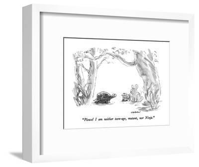 """Please!  I am neither teen-age, mutant, nor Ninja."" - New Yorker Cartoon-James Stevenson-Framed Premium Giclee Print"