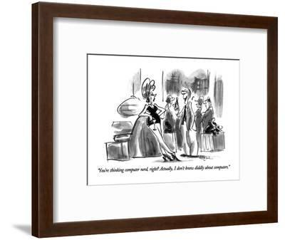 """You're thinking computer nerd, right?  Actually, I don't know diddly abou?"" - New Yorker Cartoon-Lee Lorenz-Framed Premium Giclee Print"