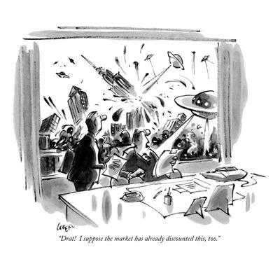"""""""Drat!  I suppose the market has already discounted this, too."""" - New Yorker Cartoon-Lee Lorenz-Framed Premium Giclee Print"""