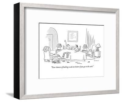 """""""Your chances of hailing a cab are better if you go to the curb."""" - New Yorker Cartoon-Liza Donnelly-Framed Premium Giclee Print"""