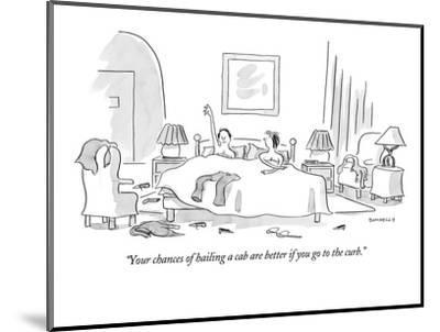 """""""Your chances of hailing a cab are better if you go to the curb."""" - New Yorker Cartoon-Liza Donnelly-Mounted Premium Giclee Print"""