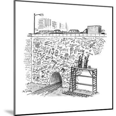 Workmen on scaffolding adding graffiti to a bridge. - New Yorker Cartoon-Mike Twohy-Mounted Premium Giclee Print