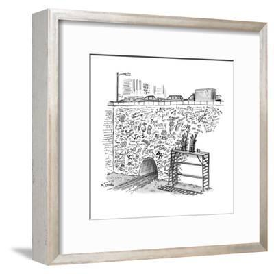 Workmen on scaffolding adding graffiti to a bridge. - New Yorker Cartoon-Mike Twohy-Framed Premium Giclee Print