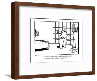"""""""I look at his recent work and I see a maturity that just wasn't there in ?"""" - New Yorker Cartoon-Bruce Eric Kaplan-Framed Premium Giclee Print"""