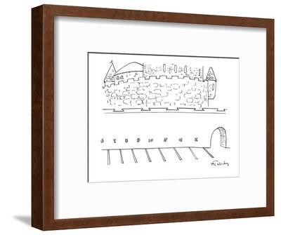 Parking lot outside of a castle. The parking spaces are labeled, '6,7,8,9,? - New Yorker Cartoon-Mike Twohy-Framed Premium Giclee Print