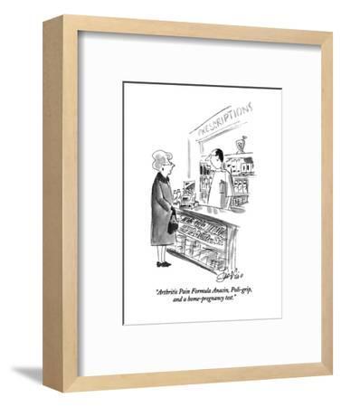 """Arthritis Pain Formula Anacin, Poli-grip, and a home-pregnancy test."" - New Yorker Cartoon-Edward Frascino-Framed Premium Giclee Print"