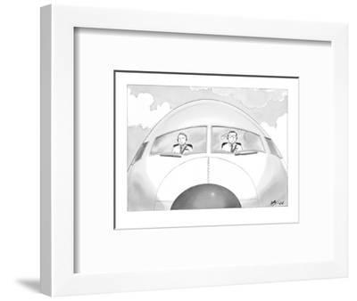 Copilot smirks at paper airplane stuck in the hair of the pilot. - New Yorker Cartoon-Harry Bliss-Framed Premium Giclee Print