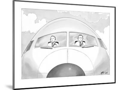 Copilot smirks at paper airplane stuck in the hair of the pilot. - New Yorker Cartoon-Harry Bliss-Mounted Premium Giclee Print