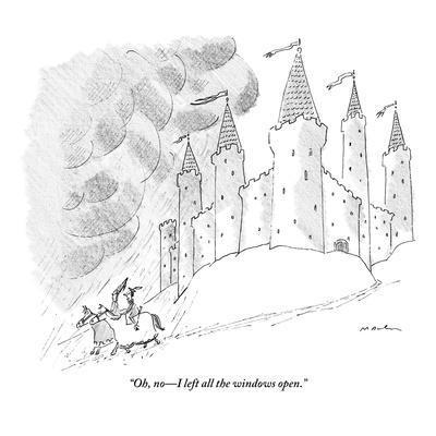 """Oh, no?I left all the windows open."" - New Yorker Cartoon-Michael Maslin-Framed Premium Giclee Print"
