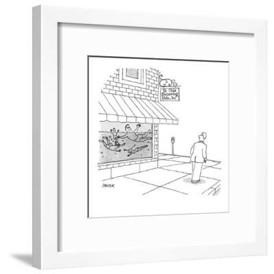 A man walks by store with people swimming in the window, store sign reads,? - New Yorker Cartoon-Jack Ziegler-Framed Premium Giclee Print