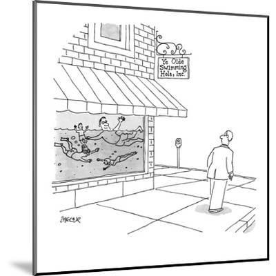 A man walks by store with people swimming in the window, store sign reads,? - New Yorker Cartoon-Jack Ziegler-Mounted Premium Giclee Print