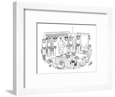 Superman is deciding what to wear, surrounded by costumes emblazoned with ? - New Yorker Cartoon-Glen Le Lievre-Framed Premium Giclee Print