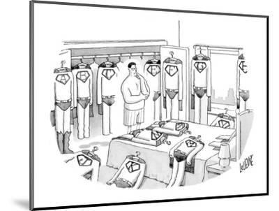 Superman is deciding what to wear, surrounded by costumes emblazoned with ? - New Yorker Cartoon-Glen Le Lievre-Mounted Premium Giclee Print