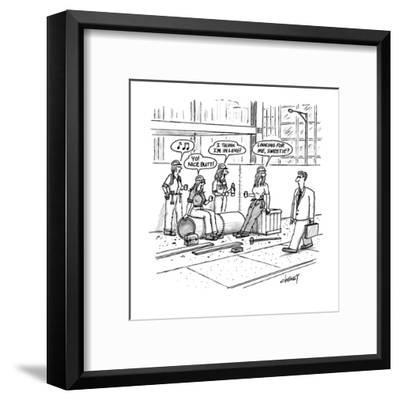 """Man walks by construction site where women construction workers call out t?"""" - New Yorker Cartoon-Tom Cheney-Framed Premium Giclee Print"""