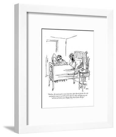 """""""Nadine, the motorcycle is very loud, but, after Bertie finishes his ride ?"""" - New Yorker Cartoon-George Booth-Framed Premium Giclee Print"""