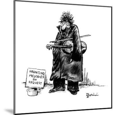 Street musician with wild eyes, holding a violin under his arm, has a sign? - New Yorker Cartoon-Eldon Dedini-Mounted Premium Giclee Print
