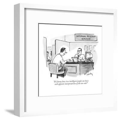 """""""It's funny how two intelligent people can have such opposite interpretati?"""" - New Yorker Cartoon-Mike Twohy-Framed Premium Giclee Print"""
