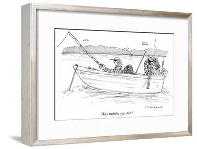"""Any nibbles yet, hon?"" - New Yorker Cartoon-Michael Crawford-Framed Premium Giclee Print"