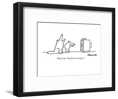 """""""Keep it up?the picture's coming in."""" - New Yorker Cartoon-Charles Barsotti-Framed Premium Giclee Print"""
