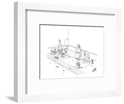 One dog walker with leashed dogs, another walking the dogs at gun point. - New Yorker Cartoon-Glen Le Lievre-Framed Premium Giclee Print