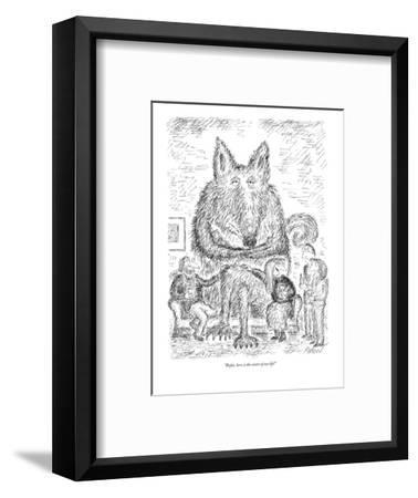 """Rufus, here, is the center of our life!"" - New Yorker Cartoon-Edward Koren-Framed Premium Giclee Print"