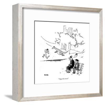 """""""I love this town!"""" - New Yorker Cartoon-George Booth-Framed Premium Giclee Print"""