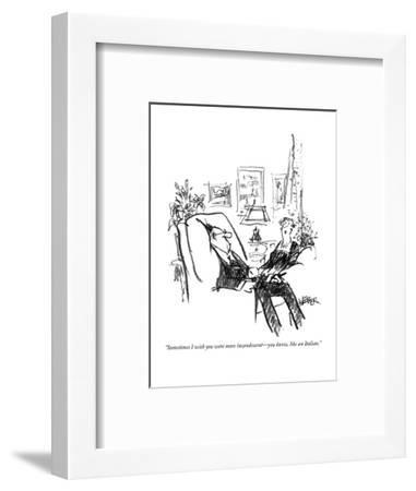 """""""Sometimes I wish you were more incandescent?you know, like an Italian."""" - New Yorker Cartoon-Robert Weber-Framed Premium Giclee Print"""