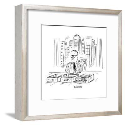 An executive sits at a desk with three boxes: In, Out and 'Destroyed Witho? - New Yorker Cartoon-David Sipress-Framed Premium Giclee Print