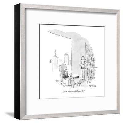 """Hmm, what would Satan do?"" - New Yorker Cartoon-Pat Byrnes-Framed Premium Giclee Print"