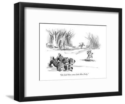 """Oh, God! Here comes little Miss Perky."" - New Yorker Cartoon-Lee Lorenz-Framed Premium Giclee Print"