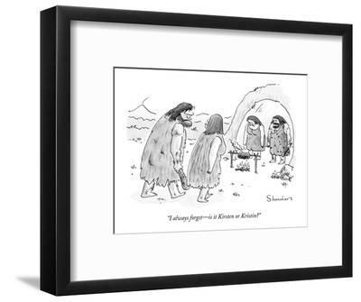 """I always forget?is it Kirsten or Kristin?"" - New Yorker Cartoon-Danny Shanahan-Framed Premium Giclee Print"