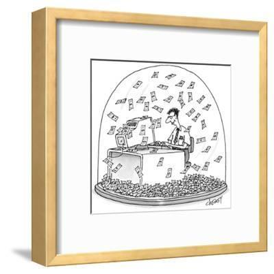Computer geek sits inside snow globe. Instead of snow, money is falling al… - New Yorker Cartoon-Tom Cheney-Framed Premium Giclee Print