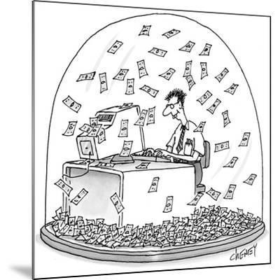 Computer geek sits inside snow globe. Instead of snow, money is falling al… - New Yorker Cartoon-Tom Cheney-Mounted Premium Giclee Print