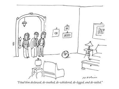 """I had him declawed, de-toothed, de-whiskered, de-legged, and de-tailed."" - New Yorker Cartoon-Michael Maslin-Framed Premium Giclee Print"